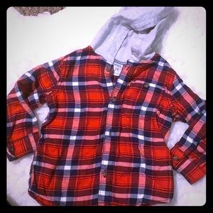 BOYS button down with attached hood